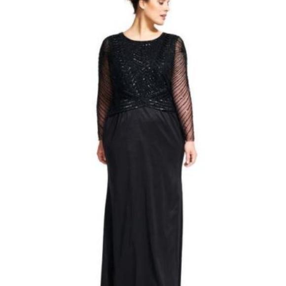 Adrianna Papell Dresses | Long Sleeve Beaded Mermaid Gown | Poshmark